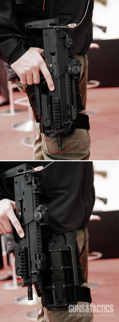 Heckler & Koch MP7 and dropleg holster. Find our speedloader now!  http://www.amazon.com/shops/raeind