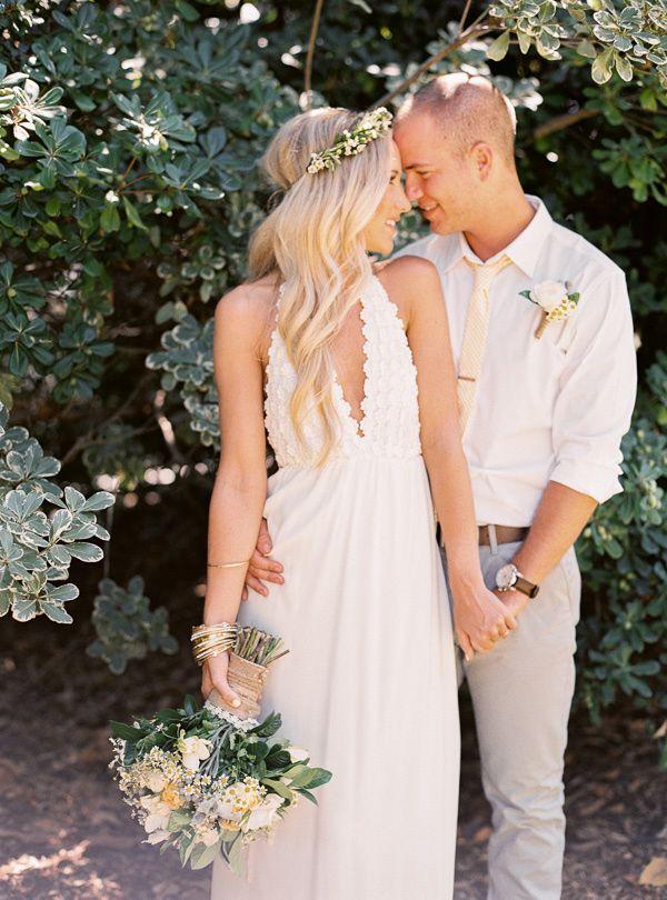 Bohemian bride in cute wedding dress from For Love and Lemons. Ruffled – photo by http://www.daniellepoff.com/ – http://ruffledblog.com/century-house-wedding/