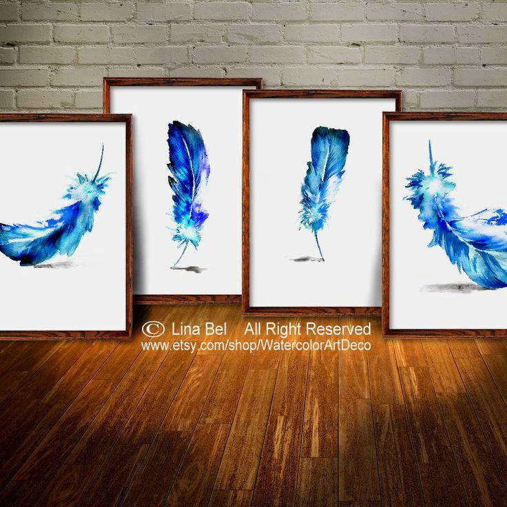 Feather Art Print Wall Decor Gift Set 4 #botanical#decor#wall#art #print#blue #gift#home#watercolor#painting
