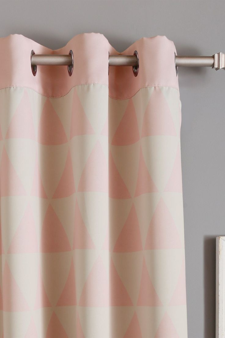 Inc faux silk blackout curtain set of 2 light pink hautelook - Baby Pink Scandinavian Triangle Print Room Darkening Curtains Set Of 2 By Best Home Fashion