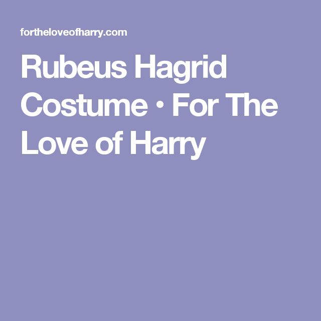 Rubeus Hagrid Costume • For The Love of Harry