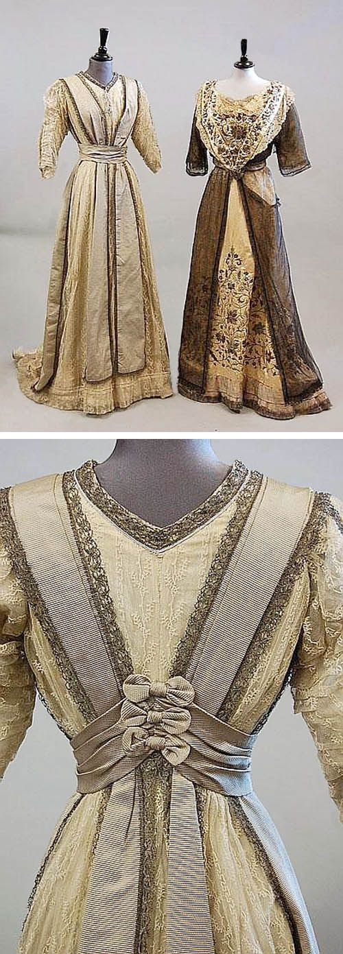 Two dresses from the Edwardian era: an intricately decorated Indian ball gown with colored silk and metal thread embroidery and a gray faille and lace gown with bow detail at the back. Kerry Taylor Auctions/Invaluable