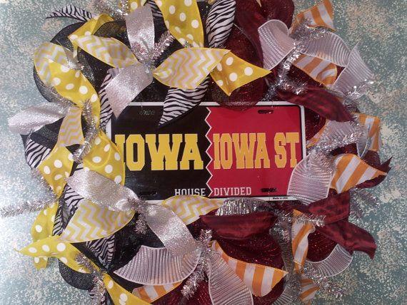 Iowa Hawkeyes/Iowa State Cyclones House by IowaGirlsWreaths, $49.00