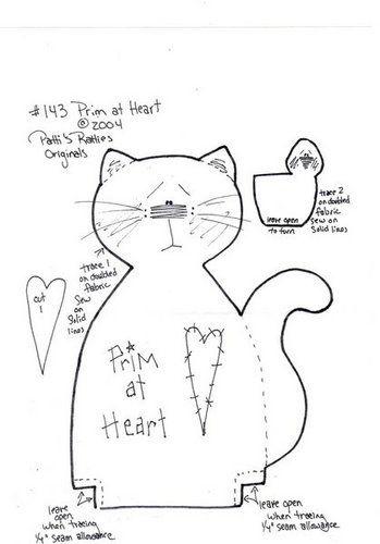 Stuffed Primitive Kitty & Birdies pattern, part 2...