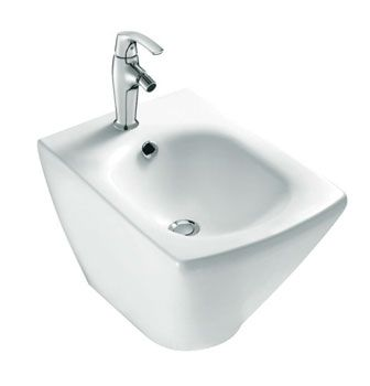 Escale® Bidet  Features:    1 tap hole  Overflow  Toilet has concealed wall fixing