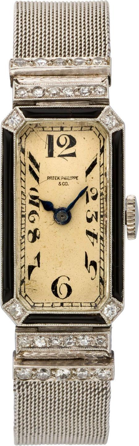 Patek Philippe & Co. Platinum, Onyx & Diamond Art Deco Lady's Wristwatch, circa 1925