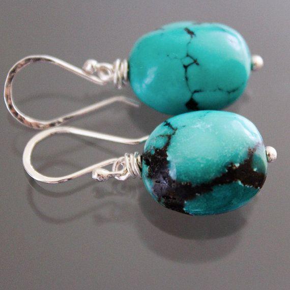Natural Turquoise Earrings  Arizona Turquoise Earrings by karioi, $110.00 http://etsy.com/shop/karioi