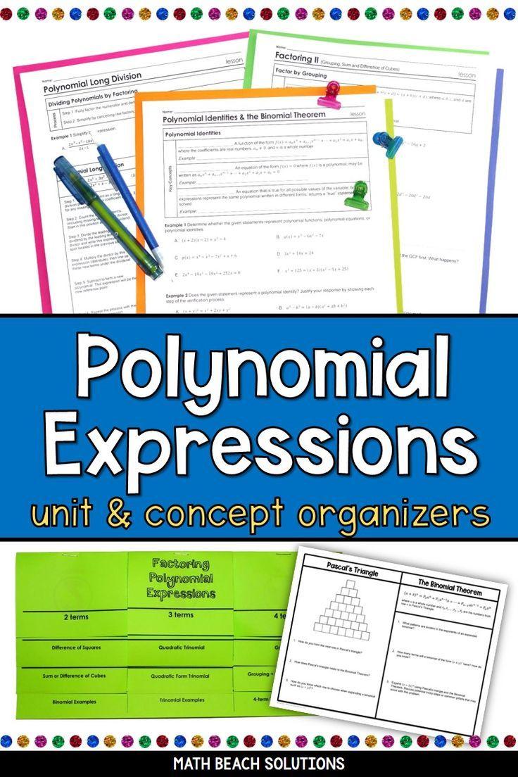Unit 2 Polynomial Expressions Algebra 2 Curriculum In 2020 Polynomials Simplifying Algebraic Expressions Simplifying Expressions