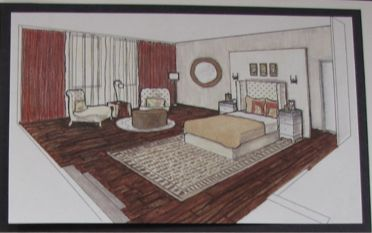 Computer Drafting of Hotel Chic Style Bedroom  (to scale) Personalized Coloured Version.