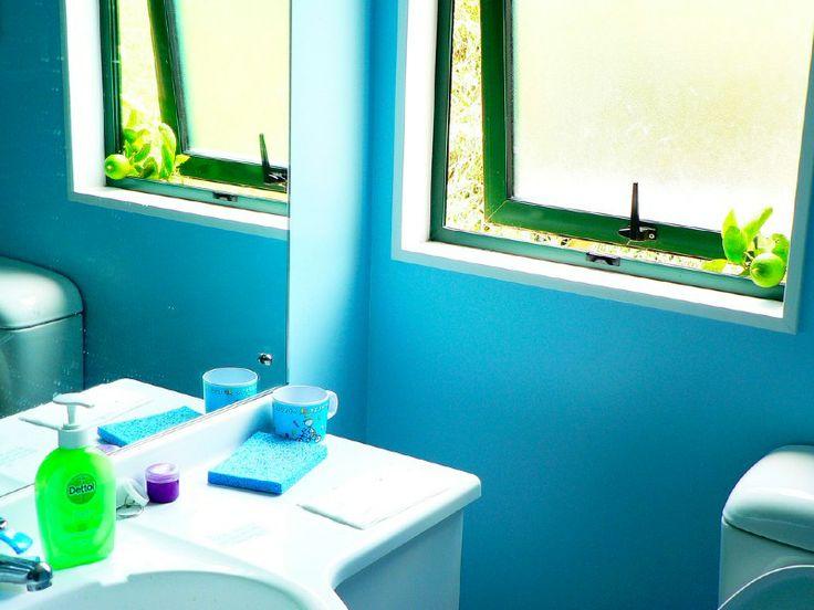 シアンとグリーンのバスルーム