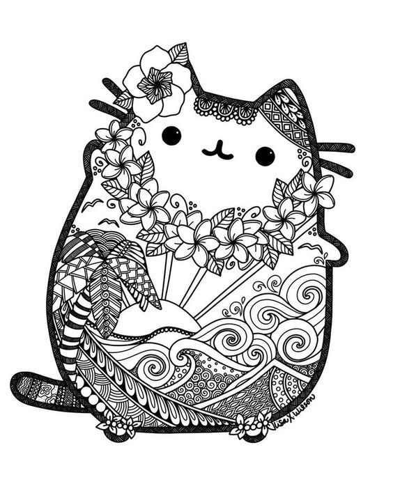 Hawaiian Pusheen!! Oh my!! This is so pretty!! Thanks goes out to the person who made this!! This is the cutest coloring page ever... ^•~•^