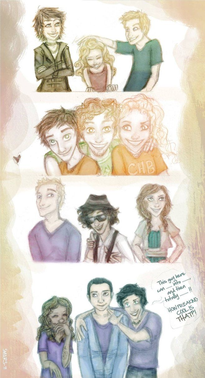 Three's the Charm by ~SmarsPD  From top left corner, Thalia, Annabeth, Luke, Percy, Grover, Annabeth, Jason, Leo, Piper, Hazel, Frank, Percy.