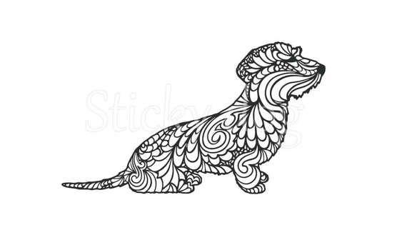 Wire Haired Dachshund Teckel Dog Silhouette Sticker Dachshund