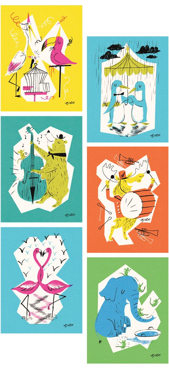 A selection of designs from Nicholas John Frith's debut greeting cards range with LAGOM Design.