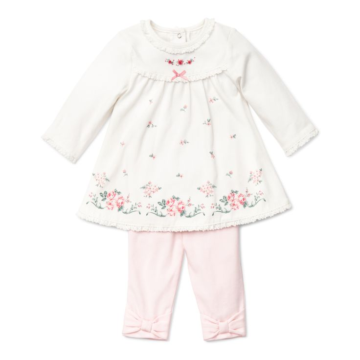 Baby Outfit - Chateau Rose Dress Legging Set