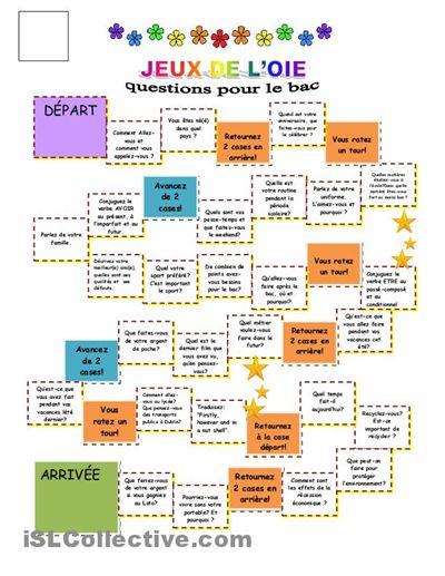 Jeux de l'oie - questions d'oral pour le leaving Cert fiches - Fiches pédagogiques gratuites FLE
