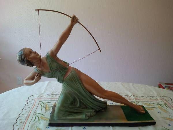 Art Deco Diana the Huntress / Archer Plaster Sculpture 1939