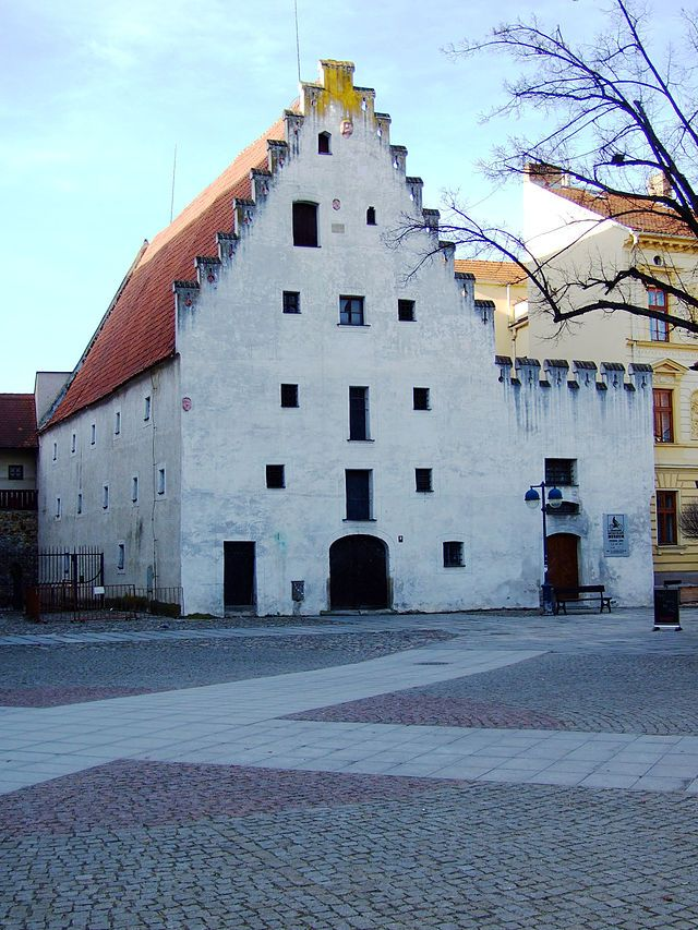 České Budějovice, Piastrické náměstí, muzeum motocyklů - The Salt House in Piaristické Square in Ceske Budejovice - It was built in 1531 as a granary, and later used as the city's armory, and later as a store of salt.