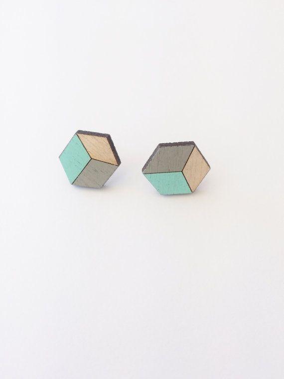 Hand Painted Laser Cut Wood Geometric Hexagon Stud Earrings- Grey and Mint