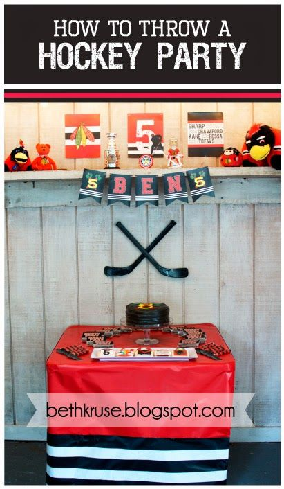 hockey party by Beth Kruse Custom Creations #blackhawks #hockey #hockeyparty