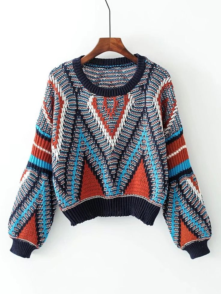 Geometric Pattern Loose Sweater -SheIn(Sheinside)