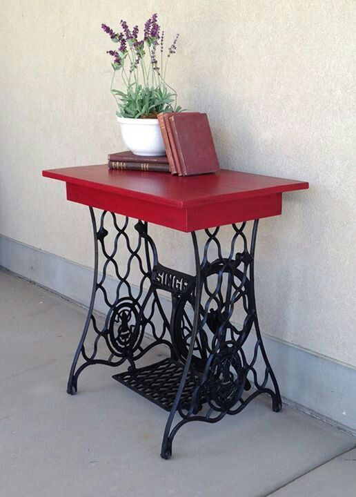 cute table made from old sewing machine