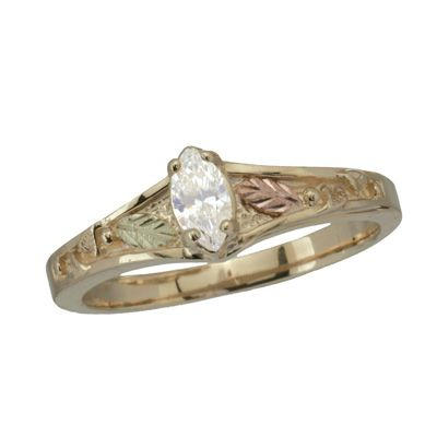 Black Hills Gold 1 4 Ct T W Marquise Diamond Engagement Ring