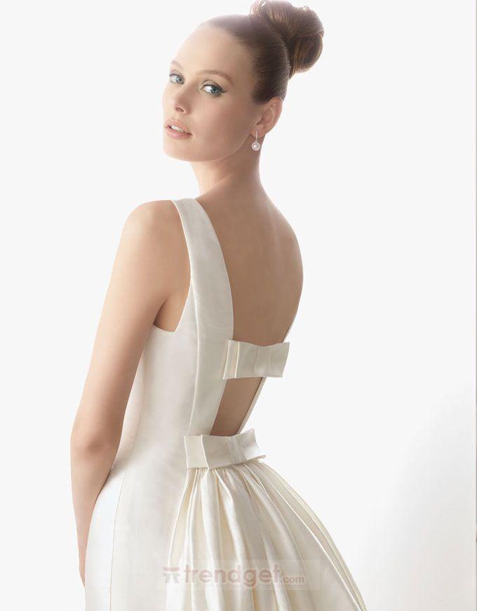 Vintage A-line Bateau Floor-length Satin White Wedding Dresses