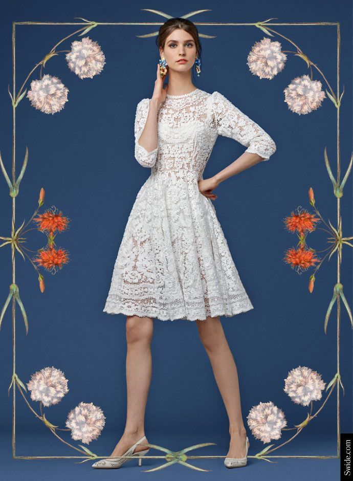 Look of the Day Dolce&Gabbana Fall 2014 Pre Collection Womenswear: Embroidered Net White Dress