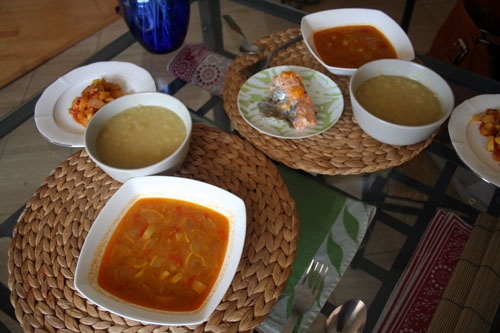 Peanut soup with fufu flour    http://www.ivu.org/recipes/african/african-peanut.html