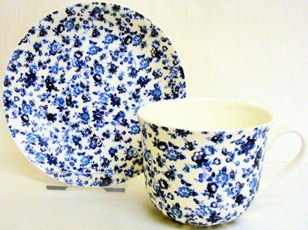 Avon Tasse et soucoupe pour petit déjeuner Avon Bleu Fleurs en porcelaine fine…