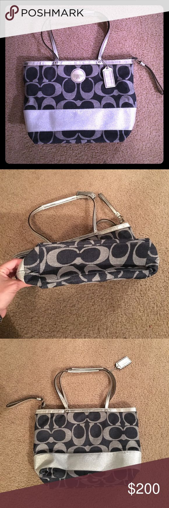 Coach Blue Denim/Silver/Gray Stripe Shoulder Bag Gently used and in excellent condition, only signs of wear include mild fading of two corners (shown above). No stains inside or out, no holes, has three inside pockets one of them being a zip pocket. The large silver stripe is sparkly and the silver trim is a more metallic color of silver. Coach Bags Shoulder Bags