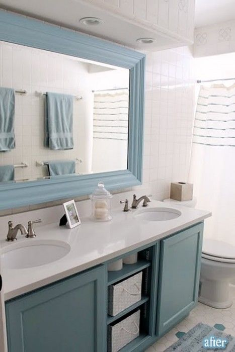 I should try adding molding to the giant, unattractive pieces of mirror in my bathrooms: Big Mirror, Kids Bathroom, Color, Large Mirror, Bathroom Mirror, Bathroom Ideas, Blue Bathroom