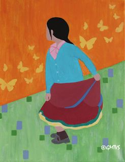 Painting and Texture: Acrylic Painting: Dancing Girl. Contemporary Art