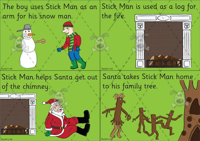 Teacher's Pet - Stick Man Story Sequencing Cards - Premium Printable Classroom Activities and Games - EYFS, KS1, KS2, julia, donaldson, sti...