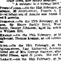 KING, Jeremiah. Death. The Age, 20 Feb 1885, 'Family Notices', p.1.