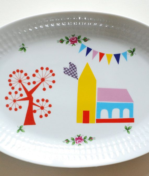 Little village church large serving platter
