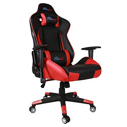 [Upgraded Big and Tall Version] Kinsal Large Size Racing Chair, Gaming Chair High-back, Ergonomic Computer Chair , Leather Swivel Executive Office Chair Including Headrest and Lumbar Support (Red)