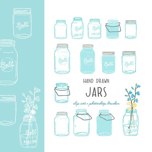Mason Jar clip art and Photoshop brushes! hand drawn. on etsy.com. SO cute!!!