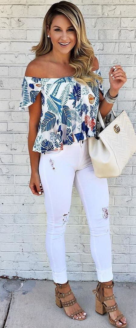 summer ootd top + bag + rips