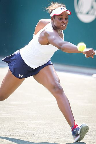 Sloane Stephens reaches for a ball to keep the point going