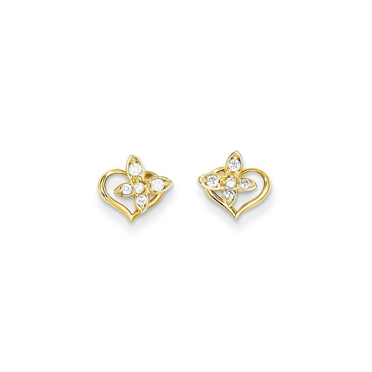 14k Yellow Gold Madi K. CZ Heart and Butterfly Post Earrings