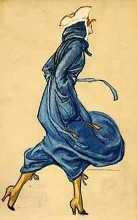 Nel vento 1918 - cartolina - Marcello Dudovich