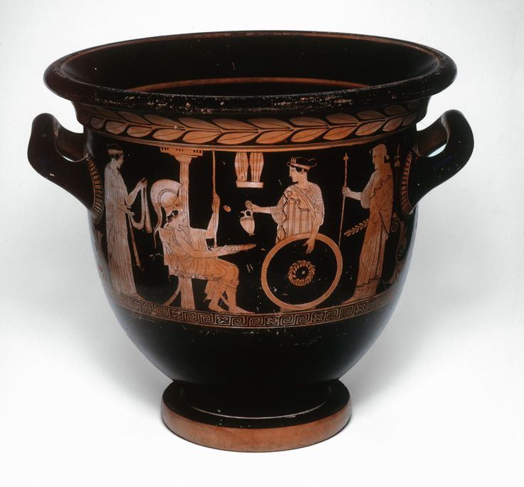 Greek, Athens In the style of the Niobid Painter  Bell Krater (Bowl for Mixing Wine and Water), c. 450 B.C.  Terracotta, red-figure technique