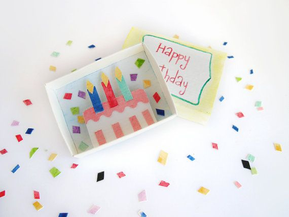 Happy birthday, matchbox art, birthday wishes, miniature diorama, colorful cake, 3d artwork