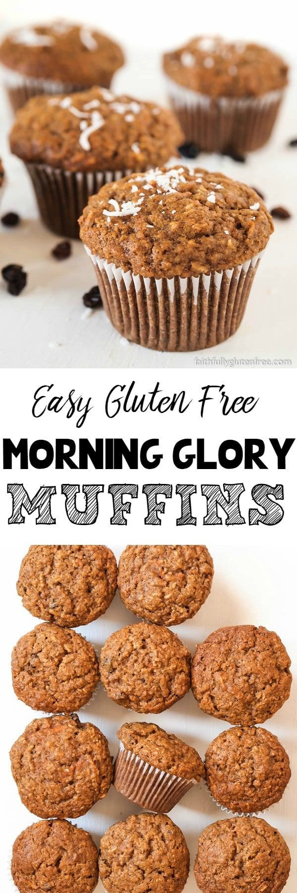 Enjoy these Gluten Free Morning Glory Muffins with a hot cup of coffee, or while you're in the car on the go. Loaded with carrots, raisins, nuts, coconut, apple and cinnamon, these muffins aren't only packed full of nutrients, they taste great too.