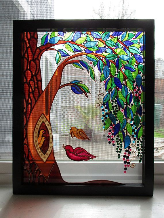 Family Tree Art Glass Painting Wall Decor Tree Of Life Abstract Landscape Modern Art Etsy Window Decor Stained Glass Glass Art Sun Catcher Tree Art Family Tree Art Glass Painting