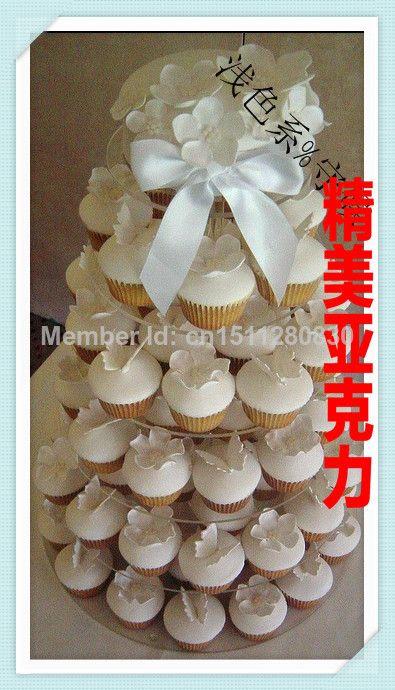 Партия поставки Круговой кексы многослойные торт ко дню рождения свадебный торт полка дисплея 6 кристалл торт уровня акриловые кекс стенд