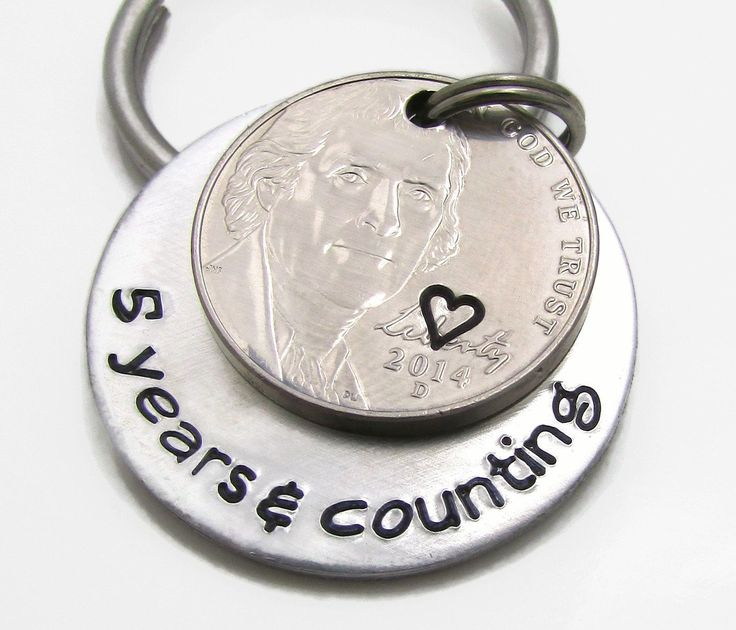 5 years counting personalized keychain hand stamped