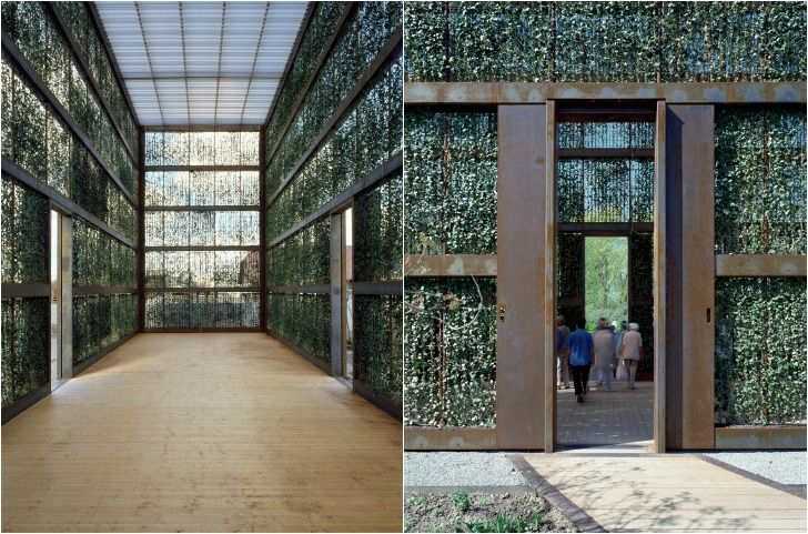 The Hedge Building, as you would expect from its name, is a hedge-clad pavilion that has ivy creeping across every wall designed by German architects Andre Kempe and Oliver Thill.